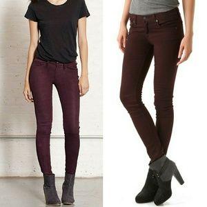 Rag & Bone Legging Skinny Jeans In Coated Wine